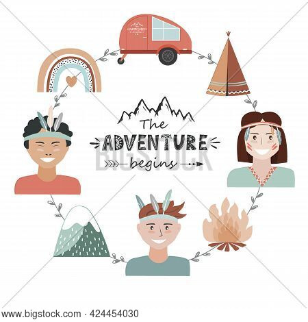 Kids Camping Concept In Tribal Style, Adventure Frame With The Adventure Begins Lettering. Recreatio