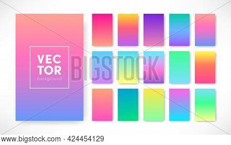 Vector Trendy Gradient Color Background Set. Vertical Colorful Gradient Cover Template Design. Vivid
