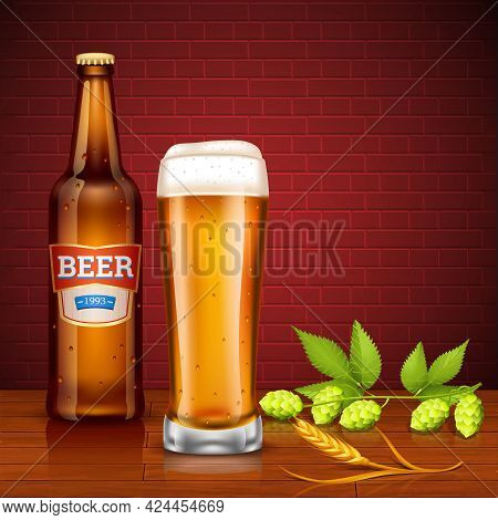 Design Concept With Beer Bottle Full Glass Of Lager Spike Of Barley And Hop Cones On Brick Wall Back