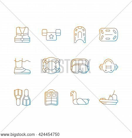 Pool Floats And Water Safety Equipment Gradient Linear Vector Icons Set. Flotation Device. Lifesavin