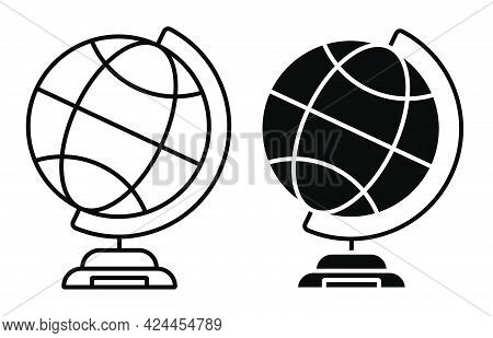 School Globe On Stand Icon. Studying Geography At School. Planet Earth Model For Training. Simple Bl