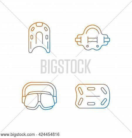 Swimming Pool Supplies Gradient Linear Vector Icons Set. Kickboard. Aqua Jogger. Swimming Goggles. A