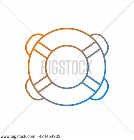 Ring Buoy Gradient Linear Vector Icon. Life Preserver. Round Floatation Device. Assisting Beginner S