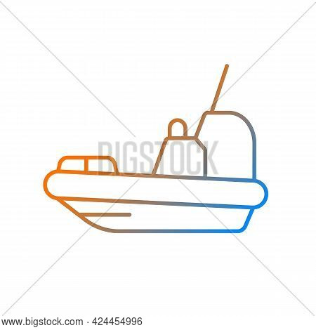 Rescue Boat Gradient Linear Vector Icon. Lifeboat For Victims Rescuing. Survival Craft. Lifesaving W