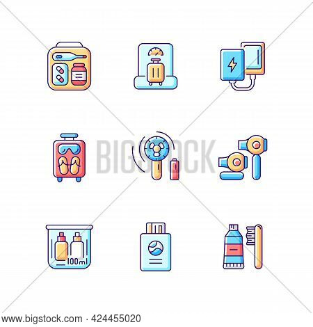 Airplane Passenger Travelling Things Rgb Color Icons Set. First Aid Kit. Weighing Baggage. Isolated