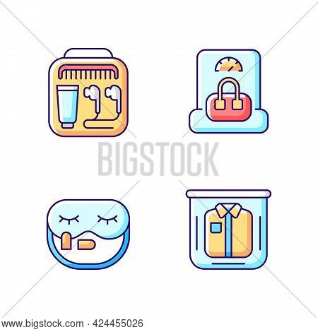 Essential Things For Travelling Rgb Color Icons Set. Portable Handbang. Clothing Packing. Isolated V