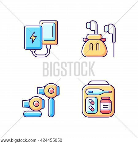 Traveller Luggage Rgb Color Icons Set. Compact Powerbank And Headphones. First Aid Kit. Isolated Vec