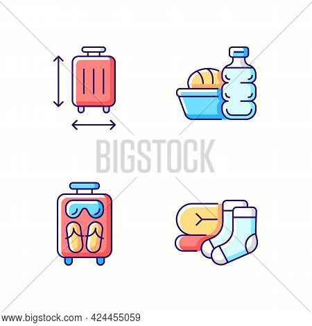 Airplane Travel Essential Pack Rgb Color Icons Set. Suitcase Size. Meal During Flight. Isolated Vect
