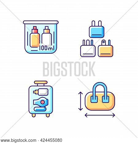 Portable Travel Essentials Rgb Color Icons Set. Compact Bag. Traveller Plugs. Open Suitcase. Isolate
