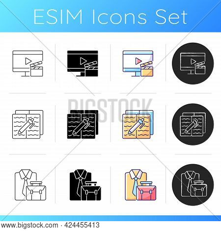 Everyday Routine Life Icons Set. Watching Tv For At Home Entertainment. Homework In Textbook. Formal
