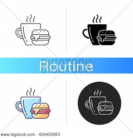 Lunch Icon. Burger And Drink In Cup. Coffee Mug With Sandwich For Dinner. Dining At Cafe. Fast Food