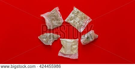 View From Above Of Several Rice And Other Porridge In Quick Cooking Plastic Bags Package Wide Long B