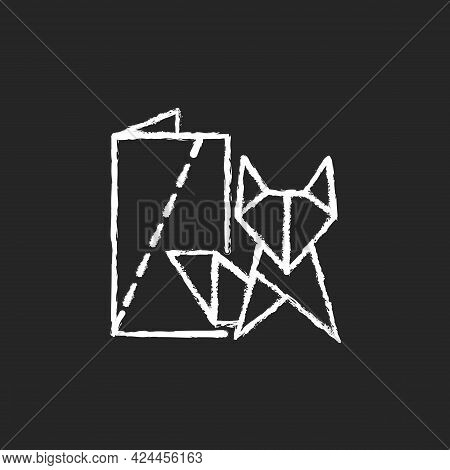 Origami Chalk White Icon On Dark Background. Paper Folding Art. Two-dimensional And Three-dimensiona