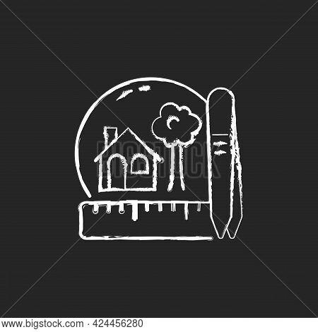 Creating Miniatures Chalk White Icon On Dark Background. Building Dolls House. Miniature Model Makin
