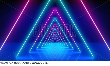 Glowing Neon Lines, Tunnel, Abstract Technological Background, Virtual Reality. Pink Blue Purple Neo