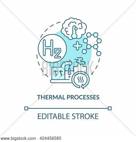 Thermal Processes Concept Icon. Hydrogen Fuel Production Abstract Idea Thin Line Illustration. Relea
