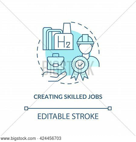 Creating Skilled Jobs Concept Icon. H2 Technologies Benefit Abstract Idea Thin Line Illustration. Re