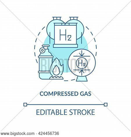 Compressed Gas Concept Icon. Hydrogen Storage Type Abstract Idea Thin Line Illustration. Storing In