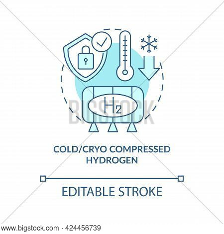Cold And Cryo Compressed Hydrogen Concept Icon. Hydrogen Storage Type Abstract Idea Thin Line Illust