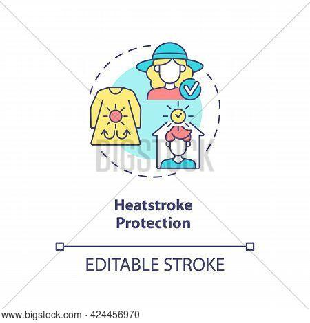 Heatstroke Protection Concept Icon. Summer Beach Safety Abstract Idea Thin Line Illustration. Wearin