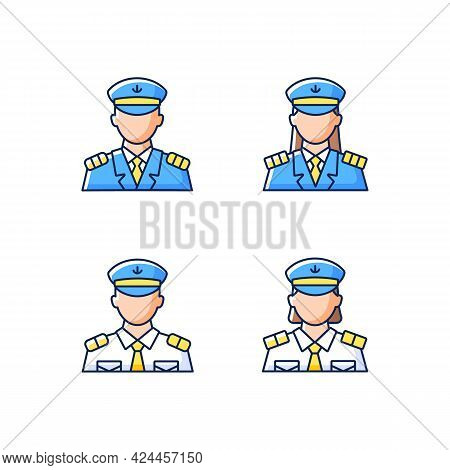 Cruise Crew Rgb Color Icons Set. Isolated Vector Illustrations. Organisation Of Comfortable Trip For