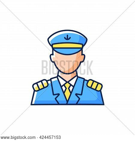 Male Captain Rgb Color Icon. Isolated Vector Illustration. Person Controling All Cruise Crew. Provid