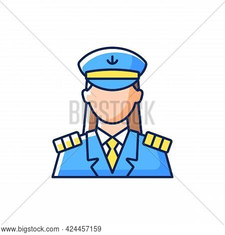 Female Captain Rgb Color Icon. Isolated Vector Illustration. Main Person During Cruise. Organizing V
