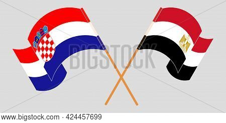 Crossed And Waving Flags Of Egypt And Croatia