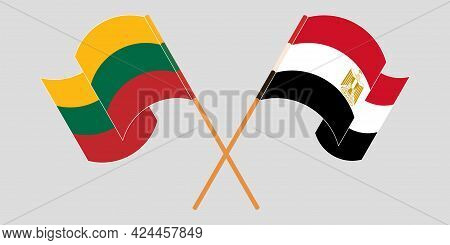 Crossed And Waving Flags Of Egypt And Lithuania