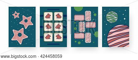 Set Of Contemporary Art Posters With Cookie Patterns. Vector Illustration. .collection Of Different