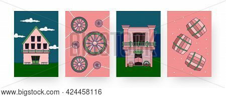 Set Of Contemporary Art Posters With Western Town Theme. Vector Illustration. .collection Of Differe