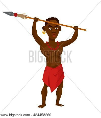 African Tribal Warrior Holding Spear Over His Head. Male Character In Cartoon Style.