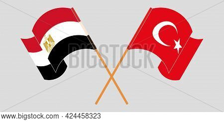 Crossed And Waving Flags Of Egypt And Turkey
