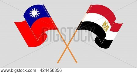 Crossed And Waving Flags Of Egypt And Taiwan