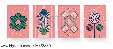 Set Of Contemporary Art Posters With Funny Abstract Cookies. Vector Illustration. .collection Of Dif
