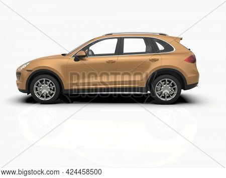 Generic and Brandless Luxury SUV Isolated on White 3d Illustration, Contemporary SUV Studio, Dealership Automobile Industry, Auto Transport, Infographics Automotive Background, City Vehicle Template