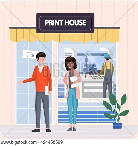 People Are Standing On Background Of Print House, Typography. Characters Near Office Of Polygraphy P