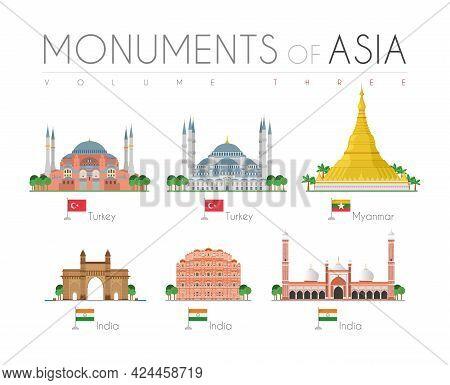 Monuments Of Asia In Cartoon Style Volume 3: Hagia Sophia And Blue Mosque (turkey), Shwedagon Pagoda