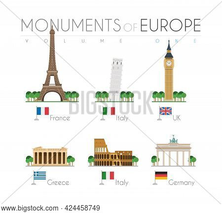 Monuments Of Europe In Cartoon Style Volume 1: Eiffel Tower (france), Pisa Leaning Tower (italy), Bi