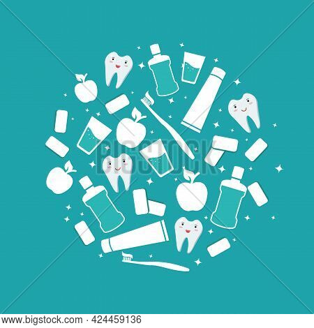 Oral Care. Dental Banner. Items For Daily Oral Hygiene. Mouthwash And Toothbrush With Paste, Apple,