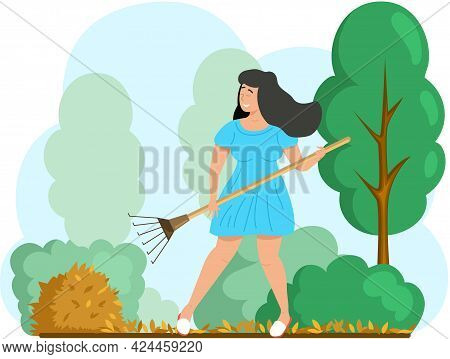 Happy Woman Doing Seasonal Garden Work, Remove Leaves With Rake, Works On Yard With Trees. Agricultu