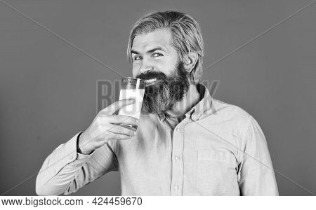 Happy Farmer Present Milk Glass. Bearded Man Drink Useful Milk. Healthy Food And Drink. Non Dairy Co