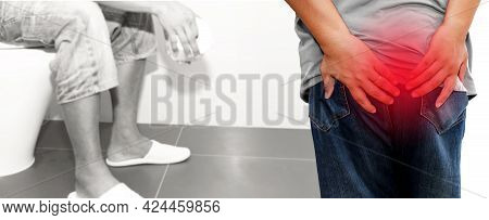 Men Suffering From Hemorrhoids Show Pain In Their Buttocks And Problems With Constipation, Going To