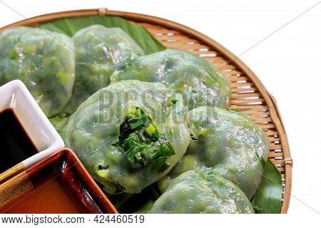 Chinese Chives, Steam Dumplings Stuff With Garlic Chives Inside Or Garlic Chives Dim Sum, With Sweet