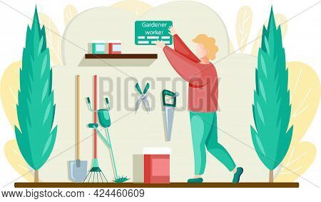 Gardener Worker Character In Flat Design Standing In Garage With Tools. Young Adult Man In Shed With