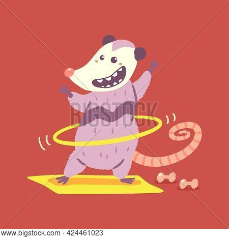 Cute Possum Doing Exercises With Hula Hoop Vector Cartoon Character Isolated On Background.