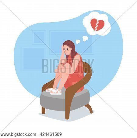 Upset Girl Sit Alone With Broken Heart 2d Vector Isolated Illustration. Sad Teen Depressively Thinki
