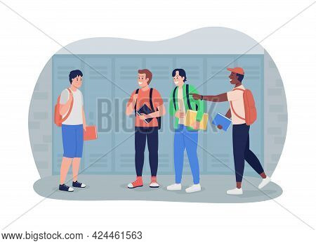 Boy Bullied At School 2d Vector Isolated Illustration. Peer Pressure. Children Mock And Bully At Hig