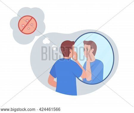 Teenage Boy Upset Over Acne 2d Vector Isolated Illustration. Facial Issue, Pimples On Skin. Unhappy