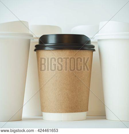 Recycle Brown Paper Coffee Cup Mockup, Take Away Cup For Drinks Isolated On White Background With Wh